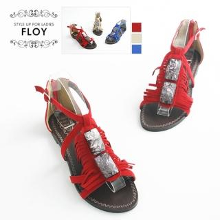 Buy FLOY SHOES Rhinestone Fringed Sandals 1023054514