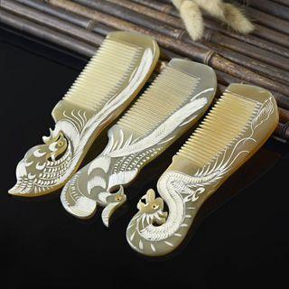 Image of Engraved Wedding Dragon / Phoenix Horn Hair Comb