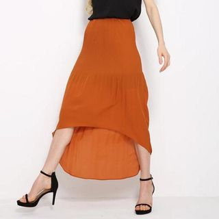 Dip-Back Chiffon Skirt