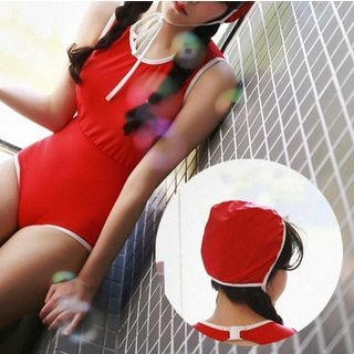 Set: Contrast Trim Swimsuit + Swim Hat 1065445896