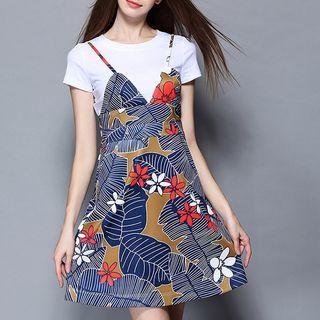 Set: Short-Sleeve T-Shirt + Strappy Print Dress 1051590619