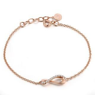 "Left Right Accessory - 9K/375 Rose Gold Diamond Infinity Bracelet 6.5"" (0.09 cttw)"