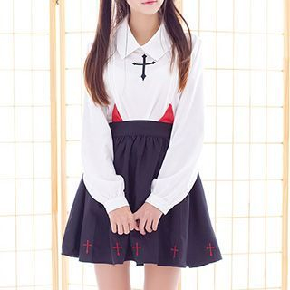 Cross Embroidered Blouse / Devil Accent A-Line Skirt