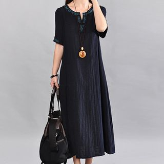 Image of Short-Sleeve A-Line Embroidered Midi A-line Dress