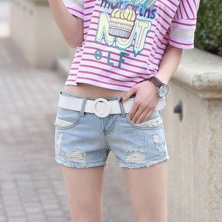 Distressed Lace Trim Denim Shorts 1060035924