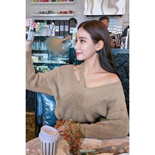 Cutout-Front Furry-Knit Top 1055019559