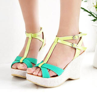 Buy KAWO Two-Color T-Strap Wedges 1022895124