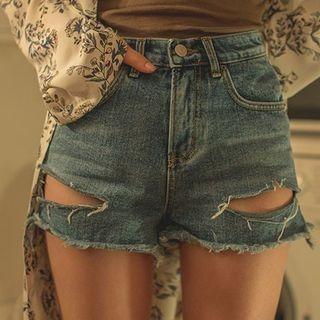 Distressed Washed Denim Shorts 1058000261
