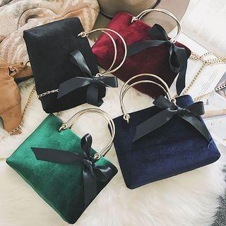 Bow Accent Velvet Handbag 1062510549