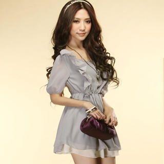 Buy Tokyo Fashion Elbow-Sleeve Ruffle Chiffon Dress 1022897992