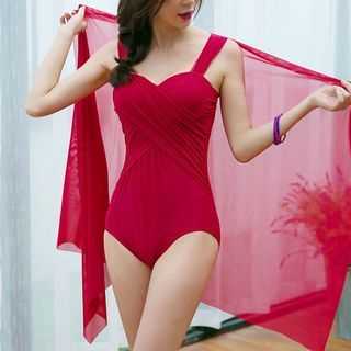 Sheer Panel Swimsuit 1059675844
