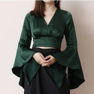 Image of Bell-Sleeve V-Neck Cropped Top