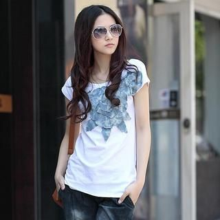 Buy HuaYuZhiLu Flower-Accent Belted T-Shirt White – One Size 1022945150