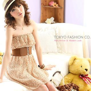 Buy Tokyo Fashion Strapless Floral Chiffon Dress with Belt 1022593965