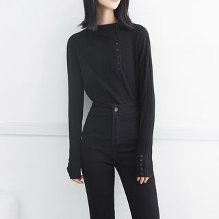 Buttoned Rib Knit Top 1063827191