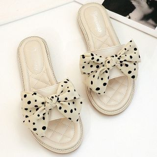 Image of Dotted Bow Slide Sandals