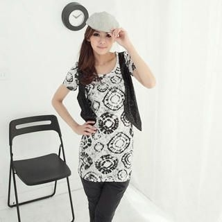 Buy CatWorld Inset Sequined Vest Printed Top 1022905734