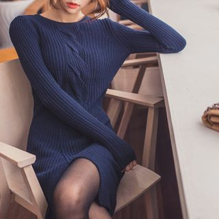 Cable-Knit Ribbed Sweater Dress 1046168053
