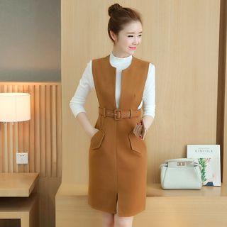 Set: Plain Long Sleeve Knit Top + Woolen Pinafore Dress 1057501226