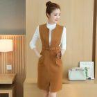 Set: Plain Long Sleeve Knit Top + Woolen Pinafore Dress 1596