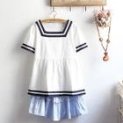 Striped Short-Sleeve Top / Ruffled Mini A-Line Dress / Set: Striped Short-Sleeve Top + Ruffled Mini A-Line Dress 1596