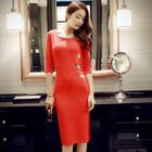Elbow-Sleeve Cutout-Side Sheath Dress 1596