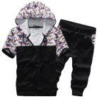 Set : Printed Panel Short-Sleeve Hooded Jacket + Cropped Pants 1596
