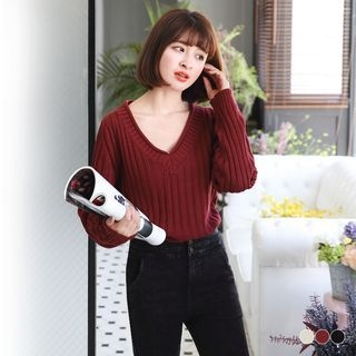 Ribbed V-Neck Sweater 1056244793