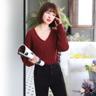 Ribbed V-Neck Sweater 1596