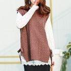 Set : Long-Sleeve Lace Top + Knit Vest 1596