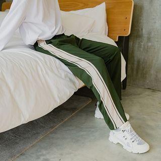 Image of Contrast Trim Wide-Leg Sweatpants