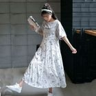 Set: Short-Sleeve T-Shirt + Strappy Floral Pleated Chiffon Dress 1596