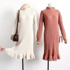 Ribbed Long Sleeve Midi Knit Dress 1596