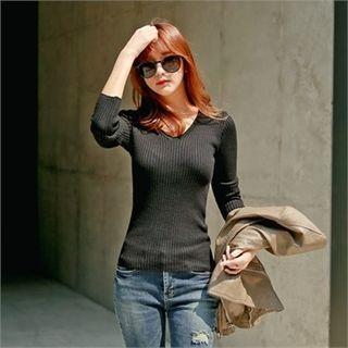 V-Neck Ribbed Knit Top 1053070056