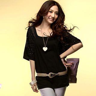 Buy Tokyo Fashion Ruched-Sleeve Rhinestone Long Top 1022550608