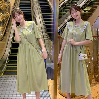 Short-sleeve | Maternity | Collar | Dress | Lace