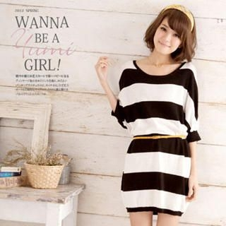 Crochet-Back Striped Knit Dress Black – One Size