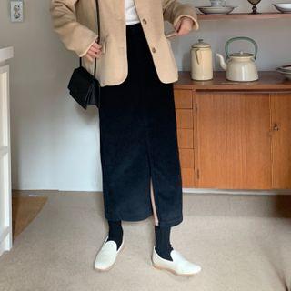 FROMBEGINNING Corduroy H-Line Maxi Skirt