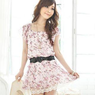 "Buy Tokyo Fashion Floral Chiffon Dress with ""Heart"" Belt 1022911353"
