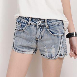 Distressed Washed Denim Shorts 1057863815