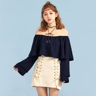 Off-Shoulder Ruffled Top 1062187051
