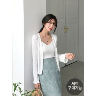 Set: Ribbed Slim-Fit Cardigan + Camisole Top 1066466735