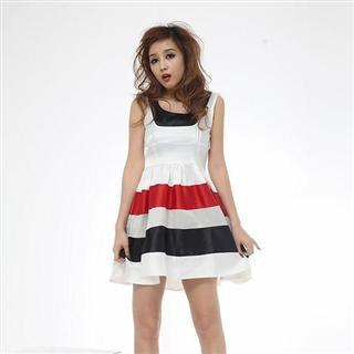 Buy MISIY Block Color Striped Sleeveless Dress 1022505845