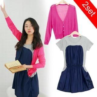 Buy MOUL STYLE Set: Sheer Knit Cardigan + Color Block Dress 1022582753