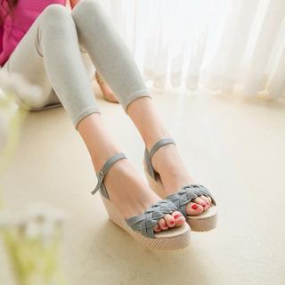 Braided-Strap Denim Wedge Sandals