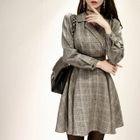 Tie-Waist Glen Plaid A-Line Dress 1596