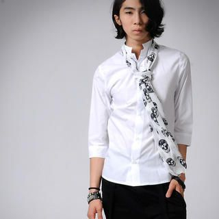 Buy deepstyle 3/4-Sleeve Dress Shirt with Skull Scarf 1022961705