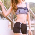 Set: Gingham Bikini Top + Swim Shorts 1596