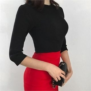 Elbow-Sleeve Ribbed Knit Top 1057469246