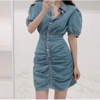 Image of Denim Short-Sleeve Shirt Dress